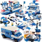 積木顆粒益智組裝玩具 警察兒童 拼裝塑料男孩5-12周歲以上