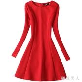 洋裝 秋冬新款紅色大碼長袖連身裙女秋冬加絨加厚打底小黑裙 XN7399【極致男人】