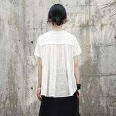 短袖T恤-中長款後背褶皺亞麻拼接女上衣2色73sl5【巴黎精品】