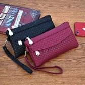 女錢包韓版百搭手拿包潮爆簡約手機包氣質格紋零錢包‧時尚