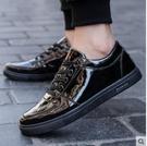 全黑色板鞋男防水防滑上班工作鞋韓版百搭小皮鞋冬季保暖加絨棉鞋