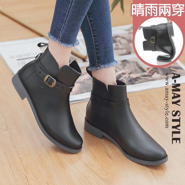 雨靴-簡約可拆式釦帶兩穿雨靴