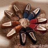 豆豆鞋 豆豆鞋女冬新款厚底毛毛外穿年秋冬季棉鞋一腳蹬女士鞋子 suger