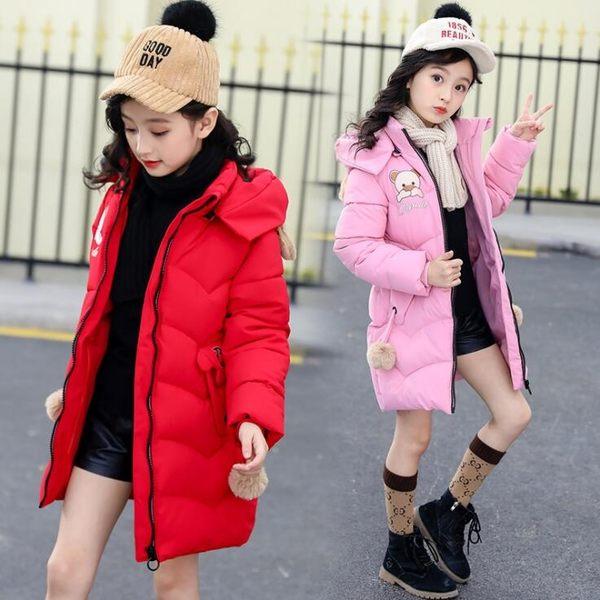 女童棉衣2019新款冬裝兒童羽絨棉服上衣 中長款洋氣女孩棉襖中大童外套 卡通保暖時尚外衣