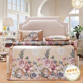 涼席天天夏季冰絲涼席三件套1.51.8m床上用品折疊冷氣席印花草席