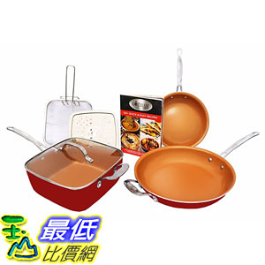 [8美國直購] 陶瓷鍋鈦合金不沾鍋 Gotham Steel 1738 Tastic Bundle 7 Piece Cookware Set Titanium Ceramic Pan Red