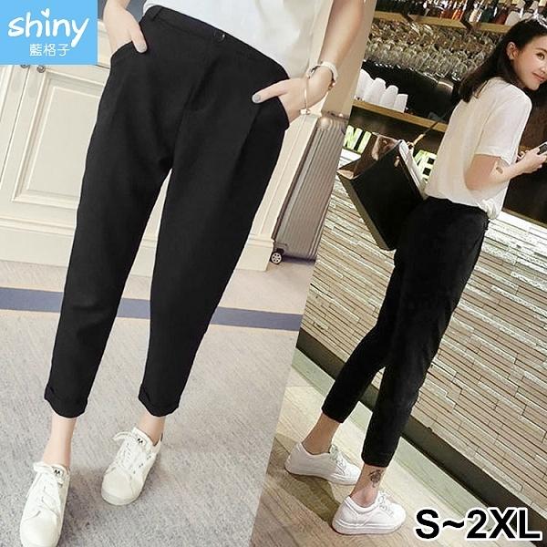 【V2579】shiny藍格子-簡單設計.顯瘦寬鬆直筒休閒九分褲