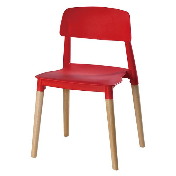 【森可家居】智喜紅色餐椅 10ZX717-4 實木 北歐風 繽紛