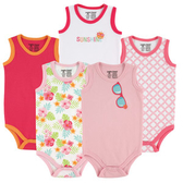 Luvable Friends 背心無袖包屁衣五件組 粉眼鏡 | 女寶寶連身衣(嬰幼兒/兒童/小孩)