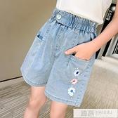 女童天絲牛仔短褲2021新款夏裝洋氣中大兒童女孩夏季外穿百搭薄款 萬聖節狂歡