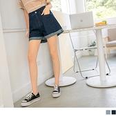 《BA6338-》高含棉牛仔水洗修身反褶寬短褲 OB嚴選