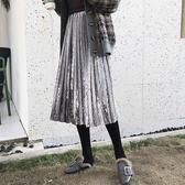 現貨 百摺裙 素色 絲絨 及膝裙 鬆緊腰 不收邊 長裙 L碼【YF926】 icoca