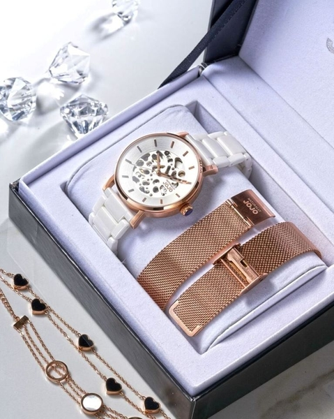 NATURALLY JOJO 玫瑰金氣質 陶瓷機械錶 (JO96960-80R) 米蘭帶 套組/40mm