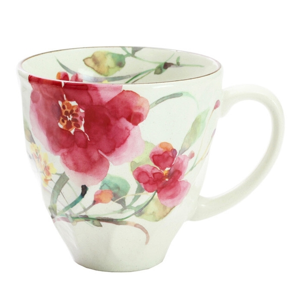 【日本製】 花水彩系列 美濃燒馬克杯 秋明菊圖案 紅色(一組:3個) SD-6639 - 日本製