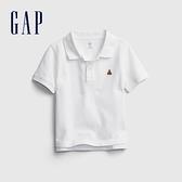 Gap男幼童 活力小熊刺繡運動POLO衫 664139-白色