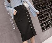 2019春秋季新款韓版高腰顯瘦中長款包臀黑色一步裙針織半身裙子女