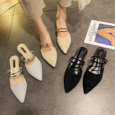 拖鞋女外穿網紅同款尖頭包頭半拖鞋ins潮2021夏粗跟涼拖鞋女穆勒 【夏日新品】