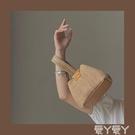 編織包 少女凹造型可愛手提草編包2021新款小眾個性度假風錬條側背編織包 愛丫