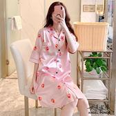 天使波堤【LD0387】夏天短袖薄款冰絲綢緞開衫裙子韓版可愛水果草莓大尺碼睡衣居家服坐月子睡衣