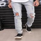 新品特惠# 歐美跨境歐美熱賣亞馬遜wish熱銷時尚大破洞彈力牛仔男長褲牛仔褲