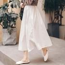 棉麻白色半身裙女高腰中長款年新款裙子遮肚文藝棉麻白色長裙 夏季新品