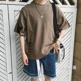 一件免運-七分袖T恤夏季新品亞麻五分袖t恤男加肥大尺碼短袖韓版潮胖七分袖上衣服M-5XL3色