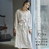 ❖ Hot item ❖ mer 7月號揭載款-2Way圓點連身襯衫領綁帶洋裝 - E hyphen world gallery