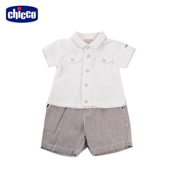 chicco- 競速小熊-短袖前開套裝-紫