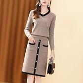 洋裝百搭毛衣女套裝裙兩件套秋冬氣質減齡顯瘦針織套裝女洋裝潮【快速出貨】