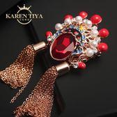 中國風刀馬旦胸花流蘇紅水晶百搭個性民族風胸針飾品外套別針配飾