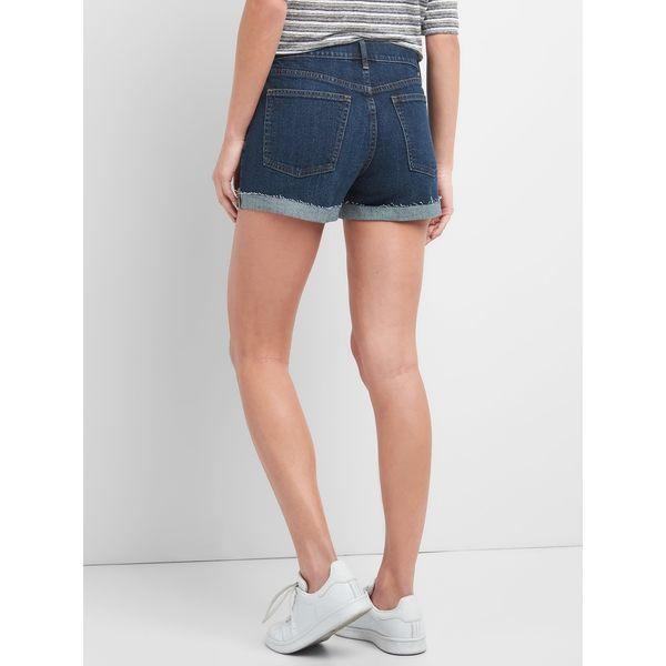 Gap女裝 時尚中腰毛邊褲腳牛仔短褲 256493-藏青色