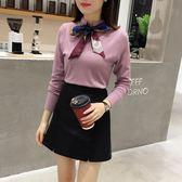 大碼套裝秋冬新款網紅針織毛衣搭配裙子兩件套氣質時尚女神范套裝裙子 Mt8395『Pink領袖衣社』