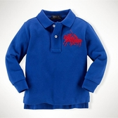 Polo Ralph Lauren polo杉 長袖上衣 藍橘雙馬   男寶寶衣服(嬰幼兒/小孩/baby)