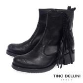 Tino Bellini義大利進口切割牛皮流蘇中跟短靴_黑 B69024 歐洲進口