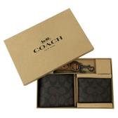 【COACH】男款C LOGO活動證件夾短夾附鑰匙圈禮盒(深咖)