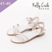 大尺碼女鞋-凱莉密碼-復古簡約款水鑽吊飾真皮寬版平底涼鞋2cm(41-46)【YGX10】白色