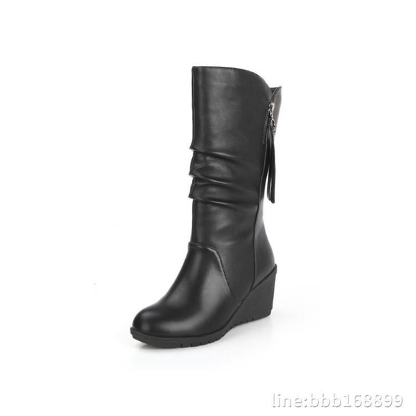 膝上靴 中年人婦女靴子秋冬季加絨半桶中跟皮鞋媽媽高跟中筒馬靴中長冬天 城市科技