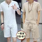 大碼男士棉麻套裝時尚短袖t恤中國風上衣復古兩件式短袖褲裝 CJ4086『易購3c館』