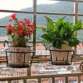 鐵藝陽臺掛式欄桿護欄花盆架懸掛多層室內綠蘿花架子 st578『伊人雅舍』