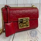 BRAND楓月 GUCCI 古馳 409487 紅色 皮革 GG紋 壓紋 金釦 金鍊 PADLOCK 肩背包 側背包