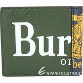 BURBERRY 徽標印花撞色拼接皮革對折短夾(綠x藍) 1920452-08