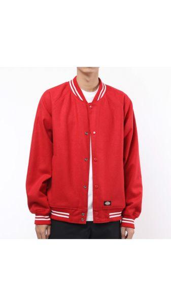 藤原本鋪 DICKIES TDJ17403 繡花尼龍毛呢雙面穿棒球外套 紅色 雙面穿外套 棒球外套
