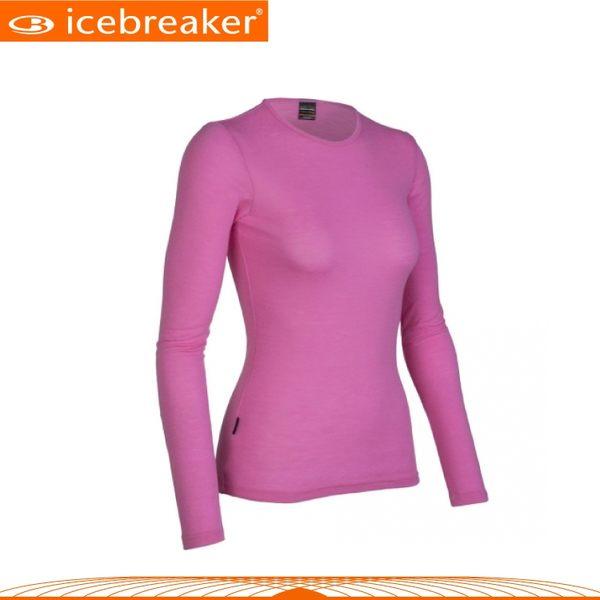 【Icebreaker 女 圓領長袖上衣《粉紅》】IB8E78/抗臭/羊毛衣/保暖/中層衣