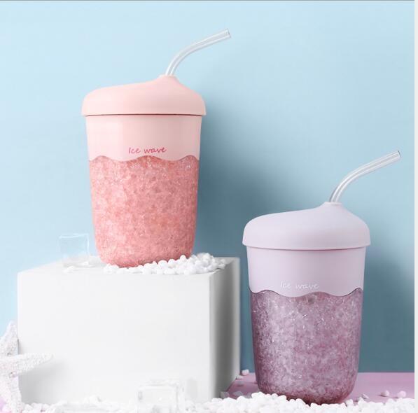 兩個裝 冰杯 冰霸杯 捏捏杯 冰浪吸管杯夏季降暑冰杯 塑膠杯帶吸管 為愛居家