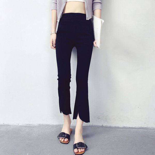 褲子 修飾顯長不規則下擺毛邊彈力八分褲 艾爾莎【TAE3843】