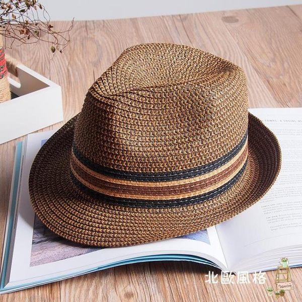 新品沙灘帽復古巴拿馬草帽男爵士帽禮帽子男款夏天遮陽帽防曬草帽