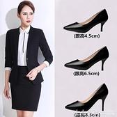 單鞋女式皮鞋黑色高跟鞋女職業中跟面試正裝工作鞋小碼