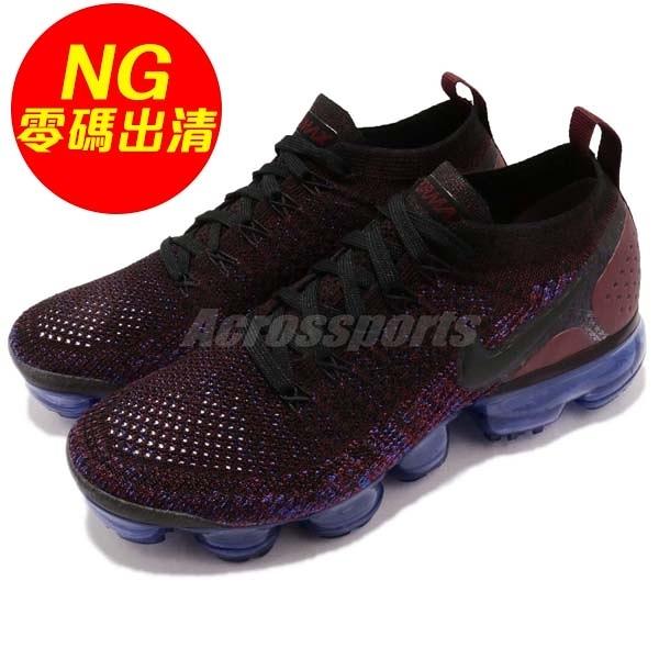 【US6-NG出清】Nike Wmns Air VaporMax Flyknit 2.0 鞋底些磨損痕跡 紅 黑 女鞋 大氣墊 運動鞋【PUMP306】