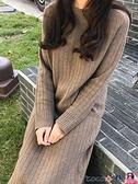 針織連身裙 韓版打底寬鬆毛衣套頭過膝毛衣裙女秋冬加厚慵懶風長款針織連身裙 coco