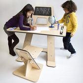 書桌臺 學習桌兒童書桌寫字臺課桌椅套裝畫板黑板架可升降實木簡約多功能【美物居家館】